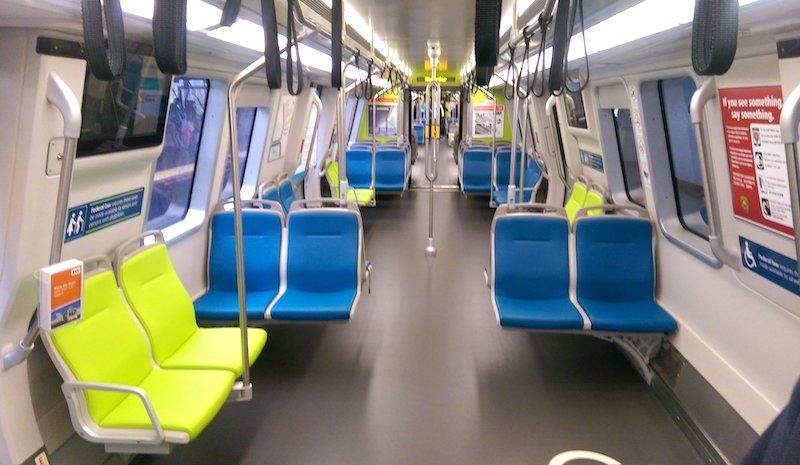 A new BART car, photographed in October 2016, features fewer seats and more standing room