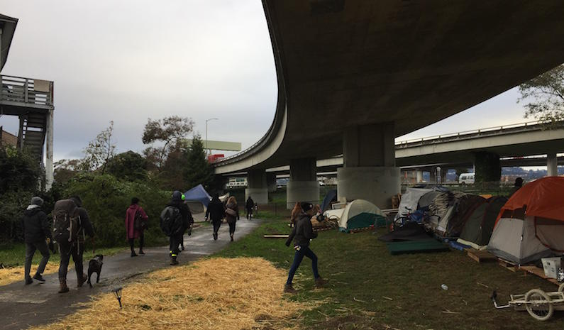 A tent encampment in Oakland