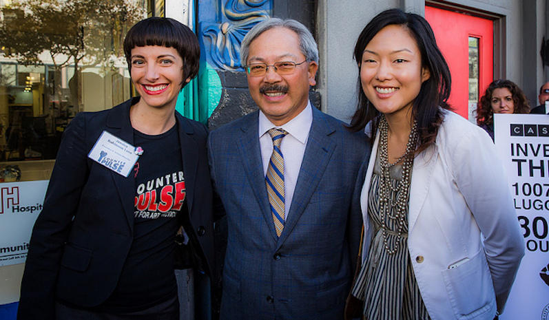 Mayor Ed Lee with Supervisor Kim, at right. (Also pictured: Jessica Robinson Love, former CounterPulse director.)