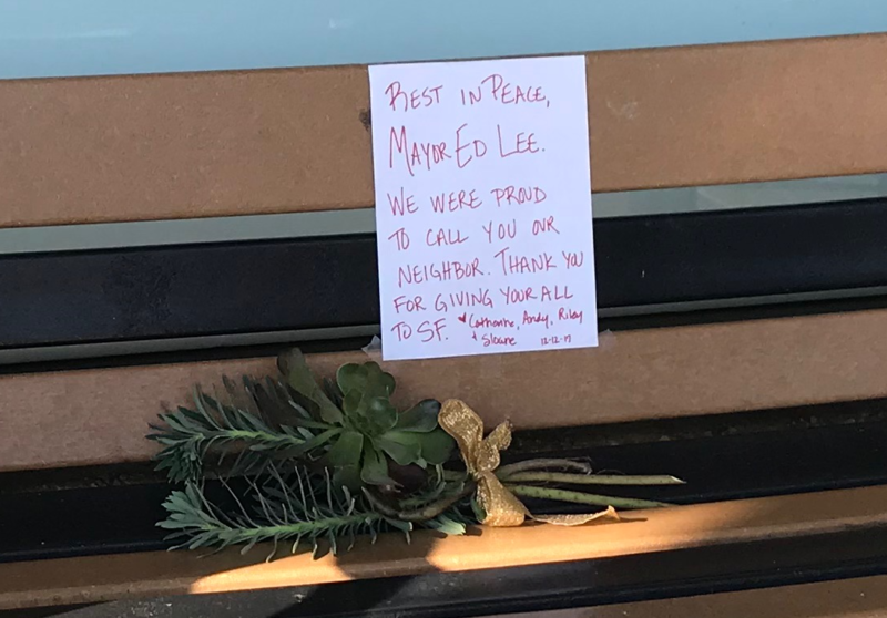 A memorial for San Francisco Mayor Edwin M. Lee at the Safeway in his Sunnyside neighborhood.