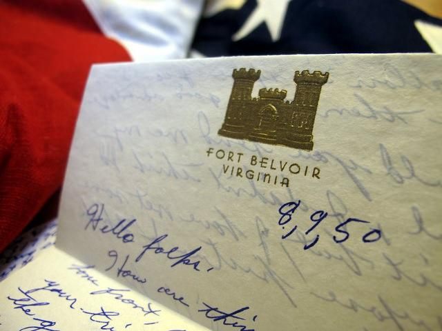 soldier letter writing  Private David House 1950 by flickr user frankieleon