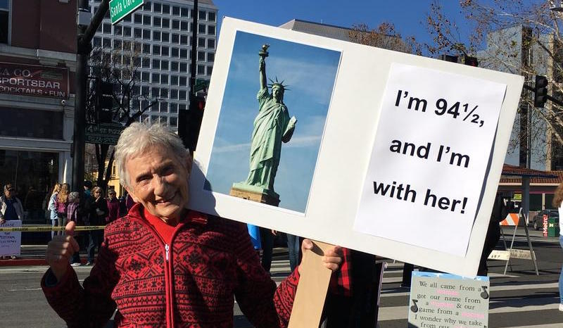 Sue Barberi, 94, has some things on her mind at the Women's March in San Jose.