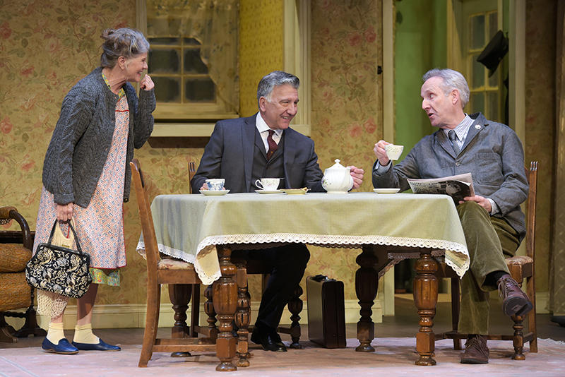 Judith Ivey (Meg), Scott Wentworth (Goldberg) and Dan Hiatt (Petey) in Harold Pinter's 'The Birthday Party', at ACT through February 4...