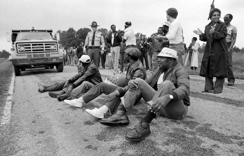 Protesters block the delivery of toxic PCB waste to a landfill in Afton, North Carolina, 1982.