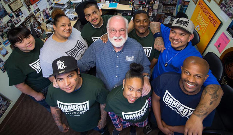 Father Greg Boyle and homies at Homeboy Industries