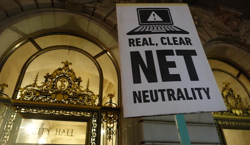 """Net Neutrality rally at San Francisco City Hall"", by Steve Rhodes, used under CC license/ resized and cropped"