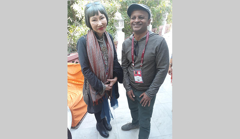 Author Amy Tan with Sandip Roy at the Jaipur Literature Festival
