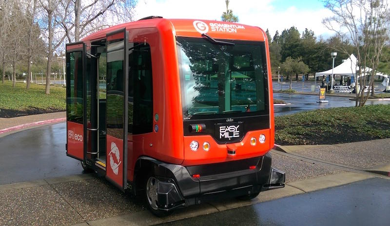 A driverless shuttle like this one in San Ramon could pick up riders from the Dublin BART station