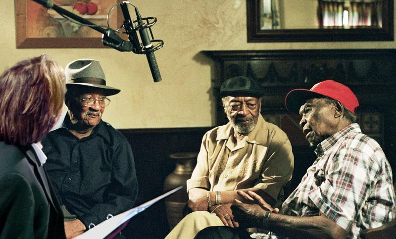 Director Bernard MacMahon interviewing  Homesick James, Robert Lockwood Jr. and Honeyboy Edwards