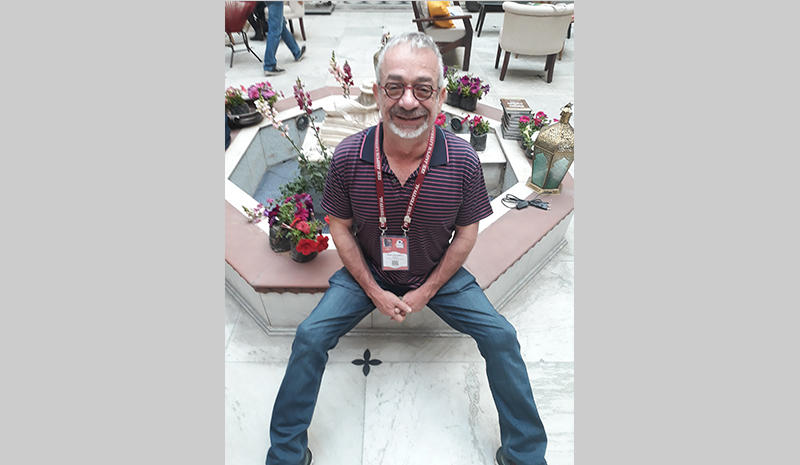 Author Rabih Alameddine with Sandip Roy at the Jaipur Literature Festival