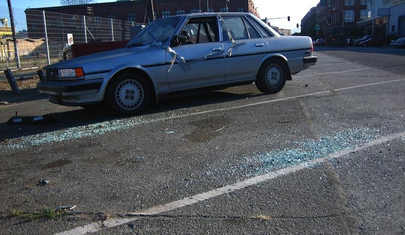 A car break-in on Townsend Street in San Francisco