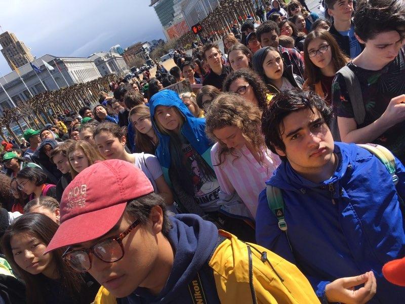 San Francisco students protest gun violence outside City Hall.