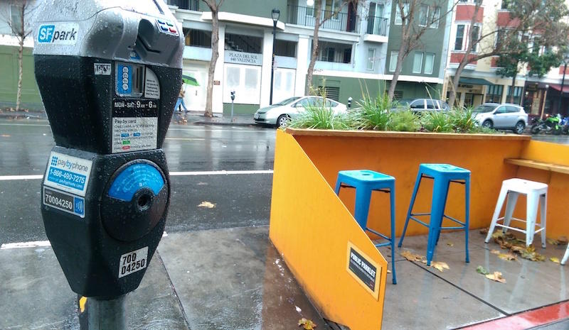 Every parking meter in San Francisco has a number. This one, on a parklet on Valencia street, is 700-04250.
