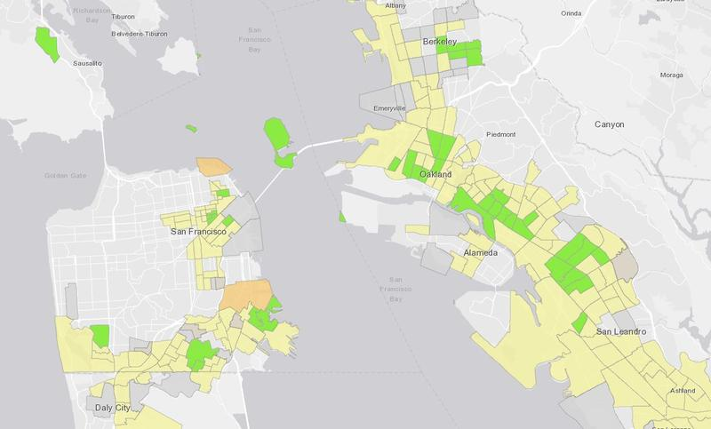 Recommended Opportunity Zones (in green) in the San Francisco Bay Area