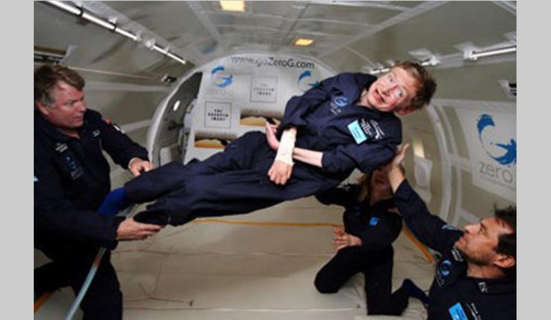 """Stephen Hawking weightless on a """"zero G flight"""""""