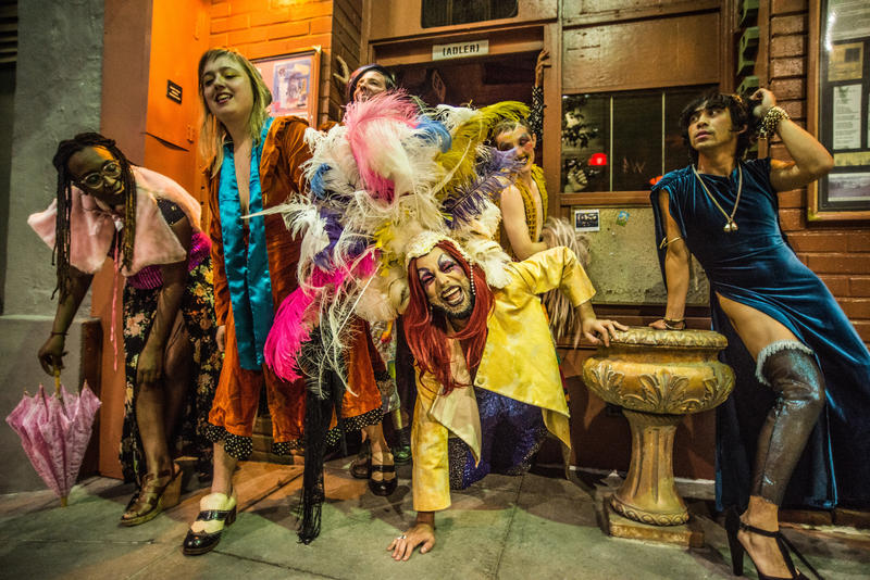 From left, Lisa Evans, Ariel Harris-Porada, Ryan Hayes, Diego Gomez, Silky Shoemaker and Earl Alfred Paus in 'OUT of Site'…