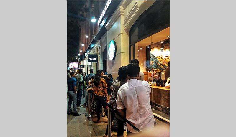 The queue at Starbucks in Kolkata