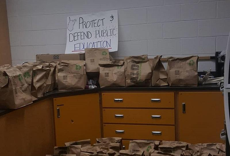 Bagged food teachers sent home with students during the teacher walkout at South Middle School in Morgantown, West Virginia