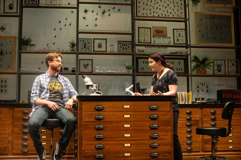 Entomologists Jeff (Lucas Verbrugghe) and Betty (Lori Prince) discuss New York's bedbug epidemic, in An Entomologist's Love Story - through June 23 at SF Playhouse in San Francisco…