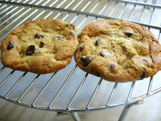Chocolate Chip Cookies Cooling, taken, maybe baked by flickr user Kari Sullivan