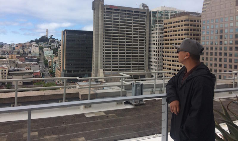 "Anouthinh ""Choy"" Pangthong enjoys the city view from his office in San Francisco. Choy was released from prison last month after 22 years."