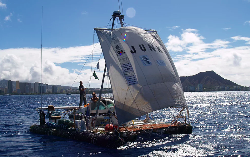 Junk, a vessel researcher Marcus Eriksen constructed from waste to explore ocean pollution