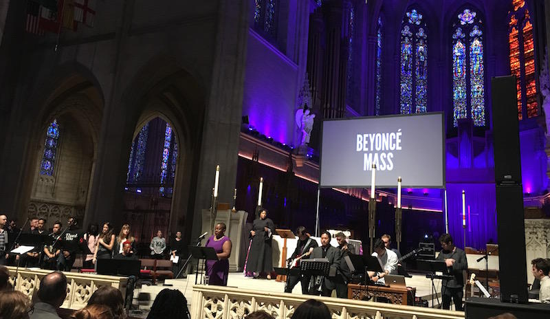 At the Beyoncé Mass at Grace Cathedral.