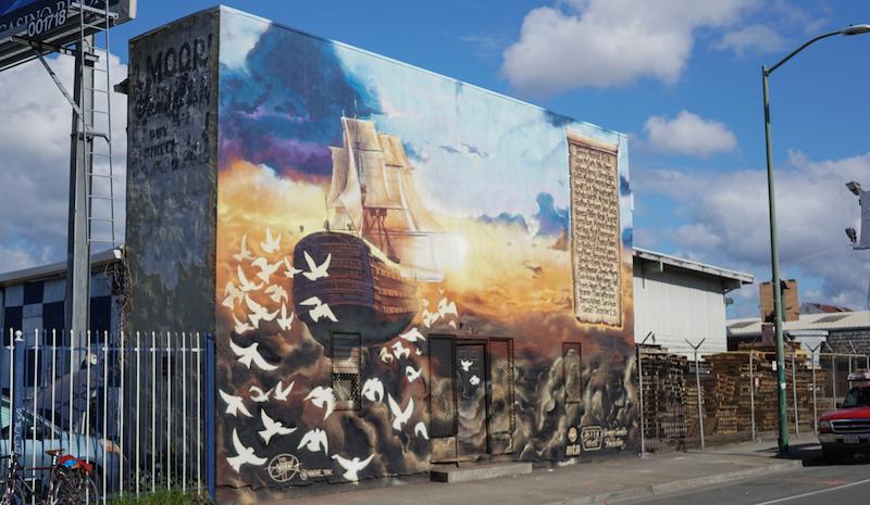 A mural in Fruitvale in remembrance of the 36 people who died at the fire at the Ghost Ship Warehouse