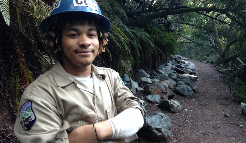 A member of the California Conservation Corps