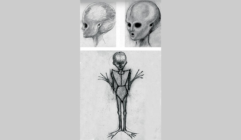 """Santyajit Ray's sketch for the 'alien' from """"Travails With the Alien"""""""