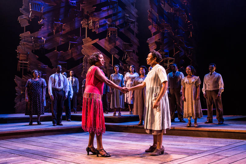 Carla R. Stewart (Shug Avery, left) and Adrianna Hicks (Celie), with members of  the North American tour cast of the musical 'The Color Purple', now at The Orpheum in San Francisco through May 27…