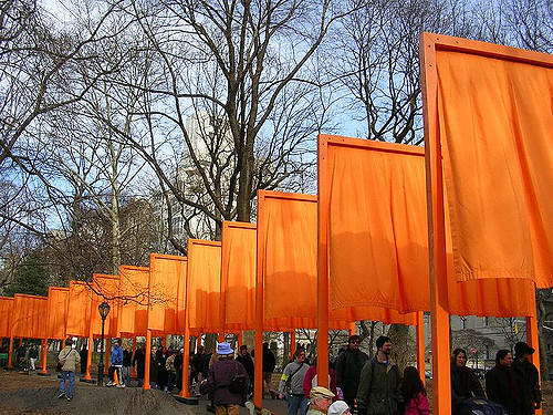 The Gates art installation in NYC Central Park in February 2005 by Christo and Jeanne-Marie. Taken by flickr user adad