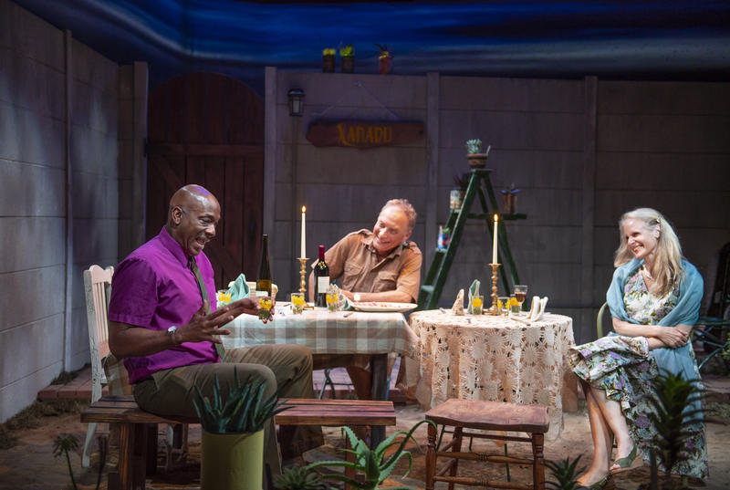 L-R: Friends Steve (Adrian Roberts), Piet (Victor Talmadge), and Gladys (Wendy vanden Heuvel) share a drink in 'A Lesson From Aloes', through June 29 at Z Below in San Francisco...