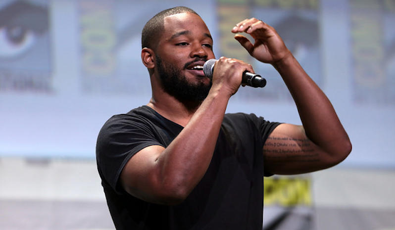 """Black Panther"" director Ryan Coogler speaking at the 2016 San Diego Comic Con International."