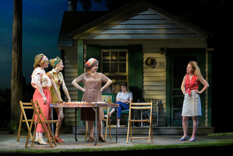 (L–R) Bunny (Molly Hager), Rhoda (Monique Hafen), Eleanor (Ariela Morgenstern), and Pearl (Katie Brayben), with Marty's mother, Lillian (Kerry O'Malley) in the background, in 'A Walk on the Moon', through July 1 at A.C.T.'s Geary Theater in San Francisco…