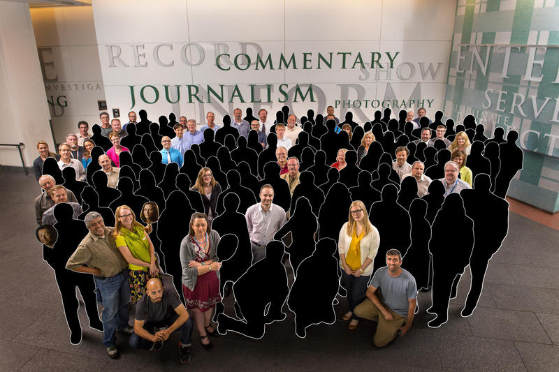 This illustration shows the original Denver Post staff members still remaining from a 2013 Pulitzer celebration photo.