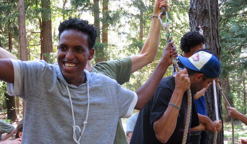 Ablel Alemu, 19, does team-building games at the Peace Summit in Foresthill.