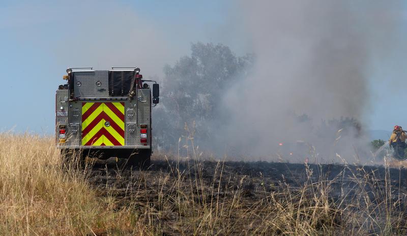 Controlled burn in Yolo County near Davis, CA