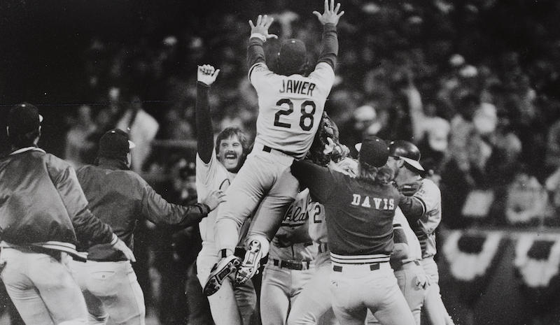 The Oakland A's win the 1989 World Series
