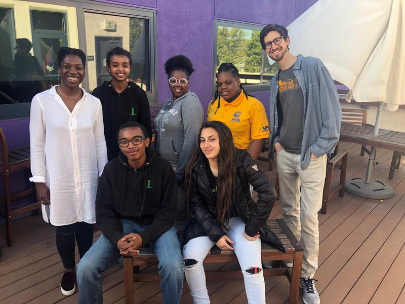 KALW's Spring 2018 class at EOYDC. From left to right, (top row): Adizah Eghan, Mahelet Aklilu, Dajsah Carter, Deniah Carter, Eli Wirtschafter, (bottom row) Makei Harrison, and Nargis Munayeva
