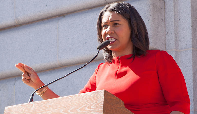 San Francisco Board of Supervisors president London Breed speaks at Day Without a Woman San Francisco.