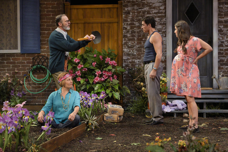 "Frank (Jackson Davis) and Virginia (Amy Resnick) dispute the property line with their neighbors Pablo (Michael Evans Lopez) and Tania (Marlene Martinez) in ""Native Gardens"" presented by TheatreWorks Silicon Valley through September 16…"