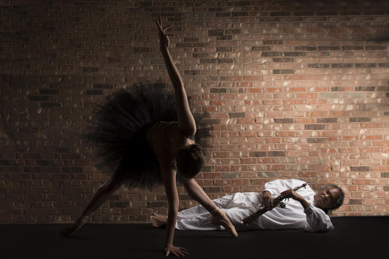 Dancer Madison Otto and saxophonist Richard Howell in 'Mangaku', a new project with choreographer Gregory Dawson, August 24 and 25 at the YBCA Theater in San Francisco...