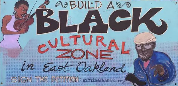 Sign calling for community support of the Black Cultural Zone.