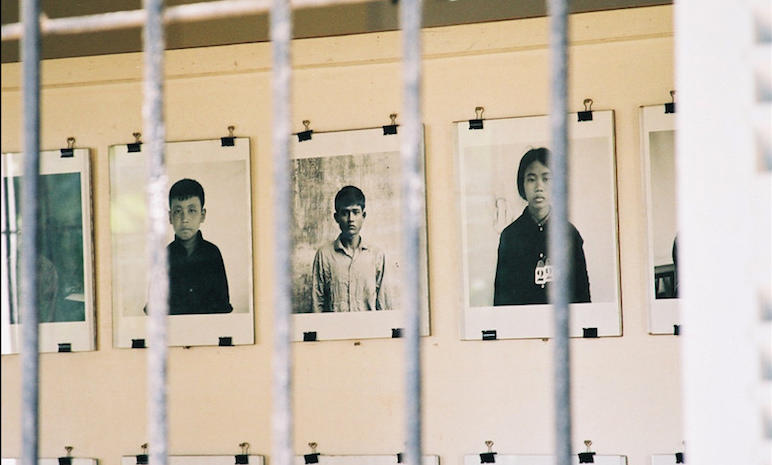 Photos of some of the victims killed during the Khmer Rouge regime in Cambodia. At least one million people died during their rule.