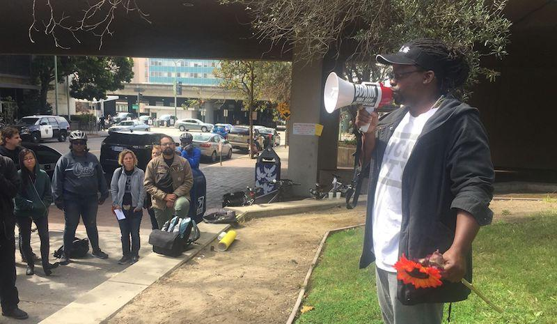 "Cycling advocate Najari Smith at a ""Biking While Black"" rally in Downtown Oakland."