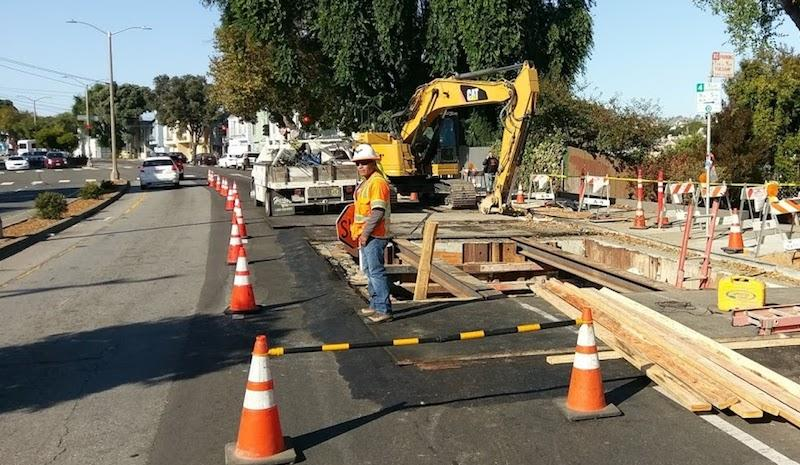 Funding from the gas tax package supports this street paving project in San Francisco's Mission Terrace.