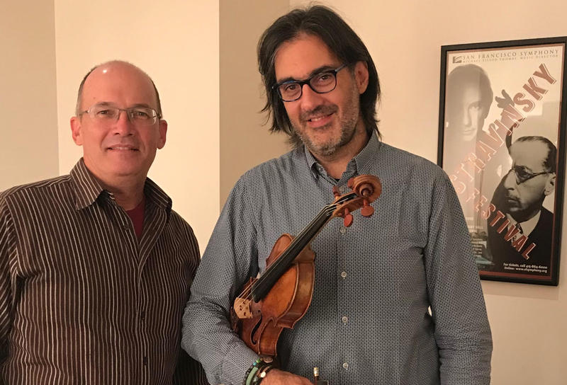 Violinist Leonidas Kavakos plays Stravinsky's Violin Concerto with Michael Tilson Thomas and the San Francisco Symphony, during the final weekend of Rebellious Beauty: A Stravinsky Festival...pictured here with host David Latulippe backstage at Davies.