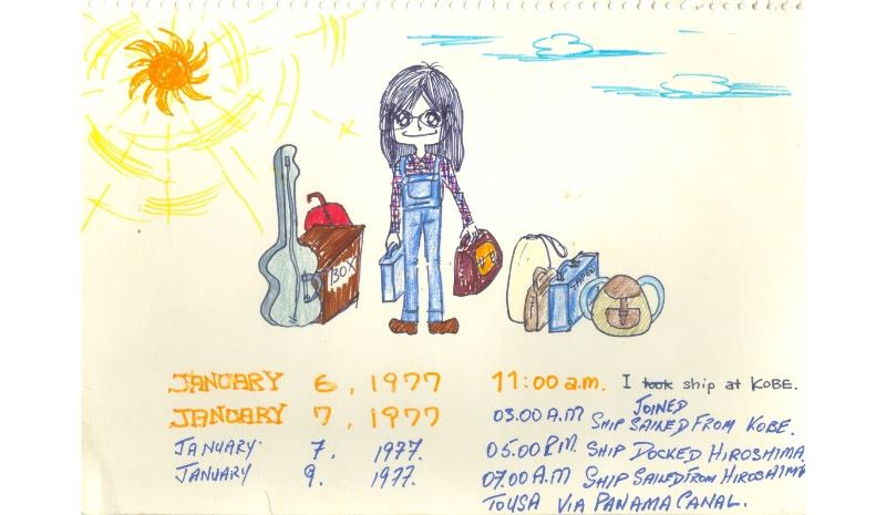 Yoko charts her journey via cargo ship to the US — she brought 64 Beatles cassettes in her blue suitcase.