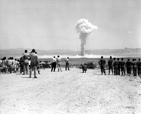 """Test of the tactical nuclear weapon """"Small Boy"""" at the Nevada Test Site, July 14, 1962. National Nuclear Security Administration, #760-5-NTS."""